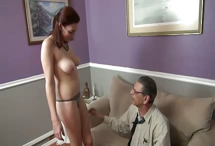 She takes her clothes off in front of an old guy