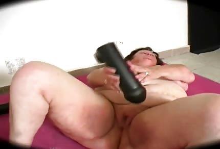 Fat grandma with big toys
