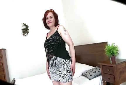 Shy red-headed granny