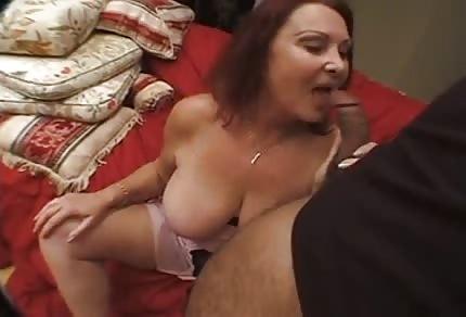 Redhead granny extorts a black dick