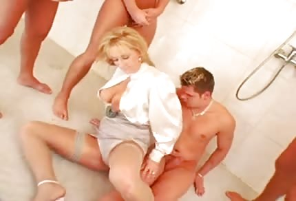 Blonde chick likes group sex