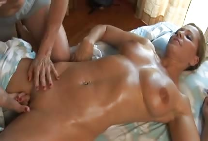 Blonde babes are giving each other a massage