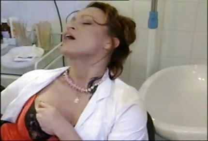 Naughty nurse is playing alone