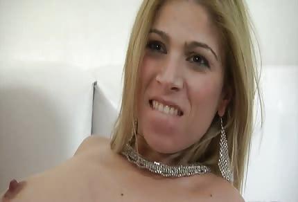 Blonde slut and three dicks