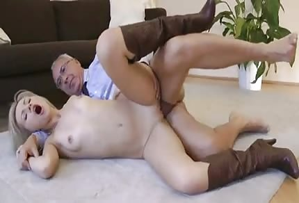 Blonde girl with an older guy