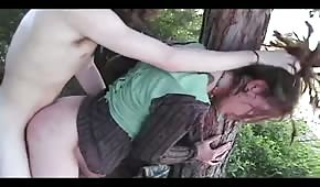Sex in the forest with a pretty brunette