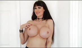 Brunette with big juicy boobs