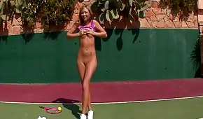 Skinny tennis player