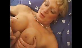 Mature babe with her young lover