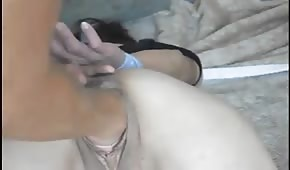 Pussy penetration with cucumber and hand
