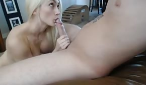 Awesome blonde chick is sucking his dick
