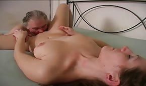 Young girl is doing an older guy