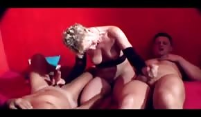 Mature lady and four cocks