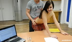 Sex on the desk with a small brunette