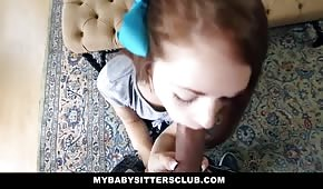 Redhead teen doing blowjob
