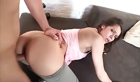 Sweet student with a dick between her buttocks