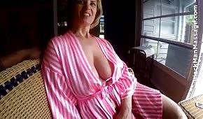 Lovely mother in a bathrobe