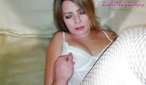 He picks up his cane and plays with her boobs