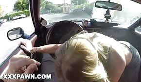 A nice blonde pulls a dick in the car