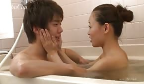 Fun with oriental beauty in the tub