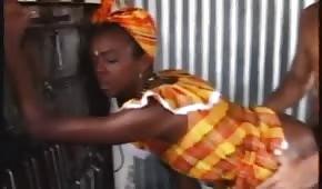 Penis między pośladkami afrykańskiej suczki