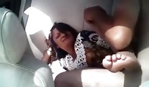 Cool feet of a lady fucked in the car
