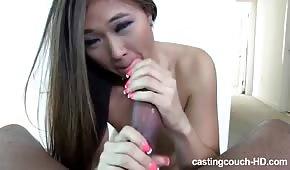 Sweet Asian licks huge cock