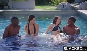 Playing in the pool with porn brunettes