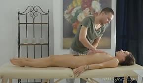 The boy massaged a shapely brunette