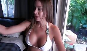 Sexy lady in bikini flips cock