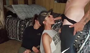 Military girl pulling a cock
