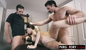 The men massaged and fucked the brunette