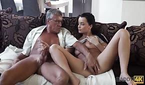 Young brunette pleasures grandpa