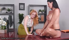 Hot girls are having fun in the office