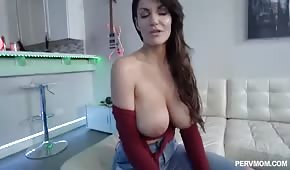 He fucked a busty mom in the living room