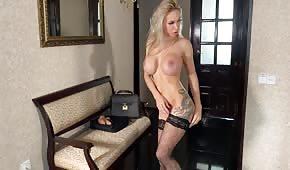 Tattooed blonde in high heels
