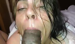 Drunken chick pulls a cock