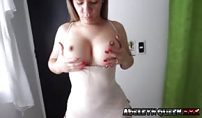 Sexy wife plays with her tits before sex
