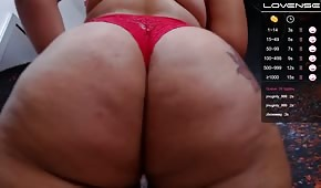 Fat ass in red panties