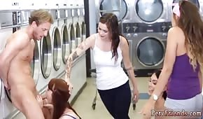 Pretty girls are pulling a dick in the laundry room