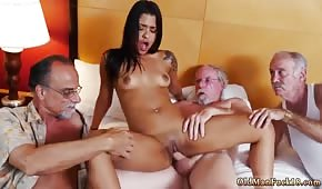 Exotic lady fucked by three grandparents