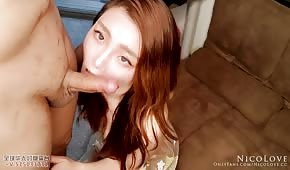 Asian redhead sucks dick sweetly