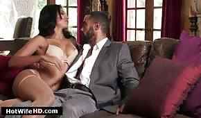 Sex on a leather couch with a Latin girl